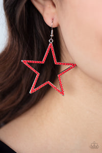 Paparazzi Count Your Stars - Red Earrings