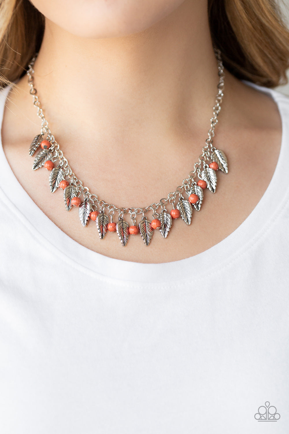 Paparazzi Boldly Airborne Orange Necklace