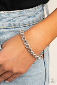 Paparazzi SUEDE Side to Side Silver Bracelet