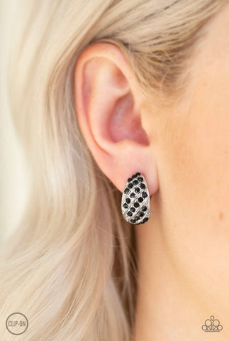 Paparazzi Sparkling Shells - Black Clip-On Earrings