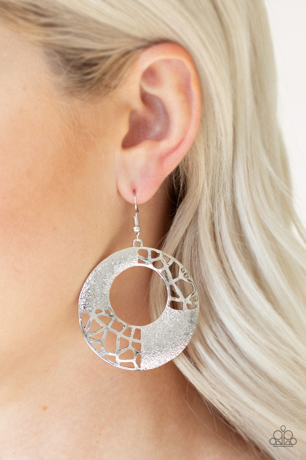 Paparazzi Shattered Shimmer Silver Earrings