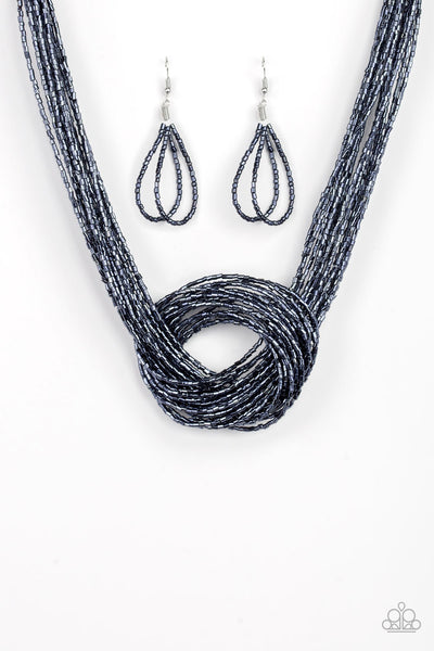 Paparazzi Knotted Knockout - Blue Necklace