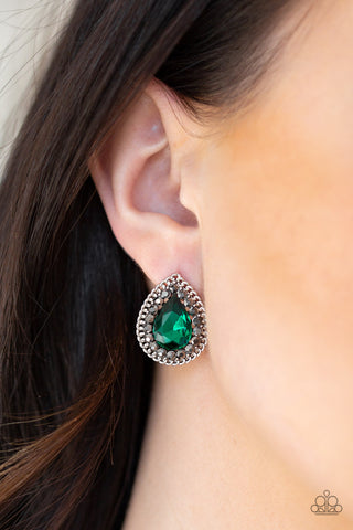 Paparazzi Debutante Debut Green Earrings