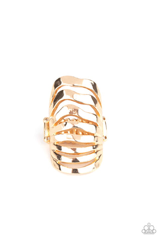Paparazzi Sound Waves Gold Ring