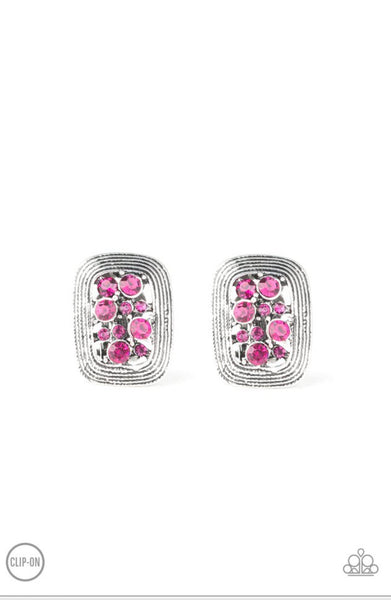 Paparazzi Darling Dazzle - Pink Clip-On Earrings