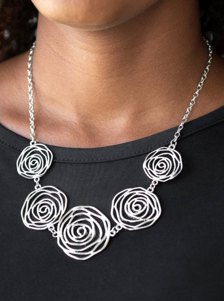 Paparazzi Rosy Rosette - Silver Necklace