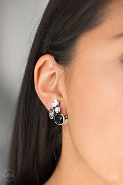 Paparazzi Super Superstar - Black Clip-On Earrings