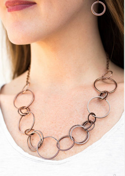 Paparazzi Follow The RINGLEADER - Copper Necklace