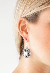Paparazzi Only FAME In Town - Silver Earrings