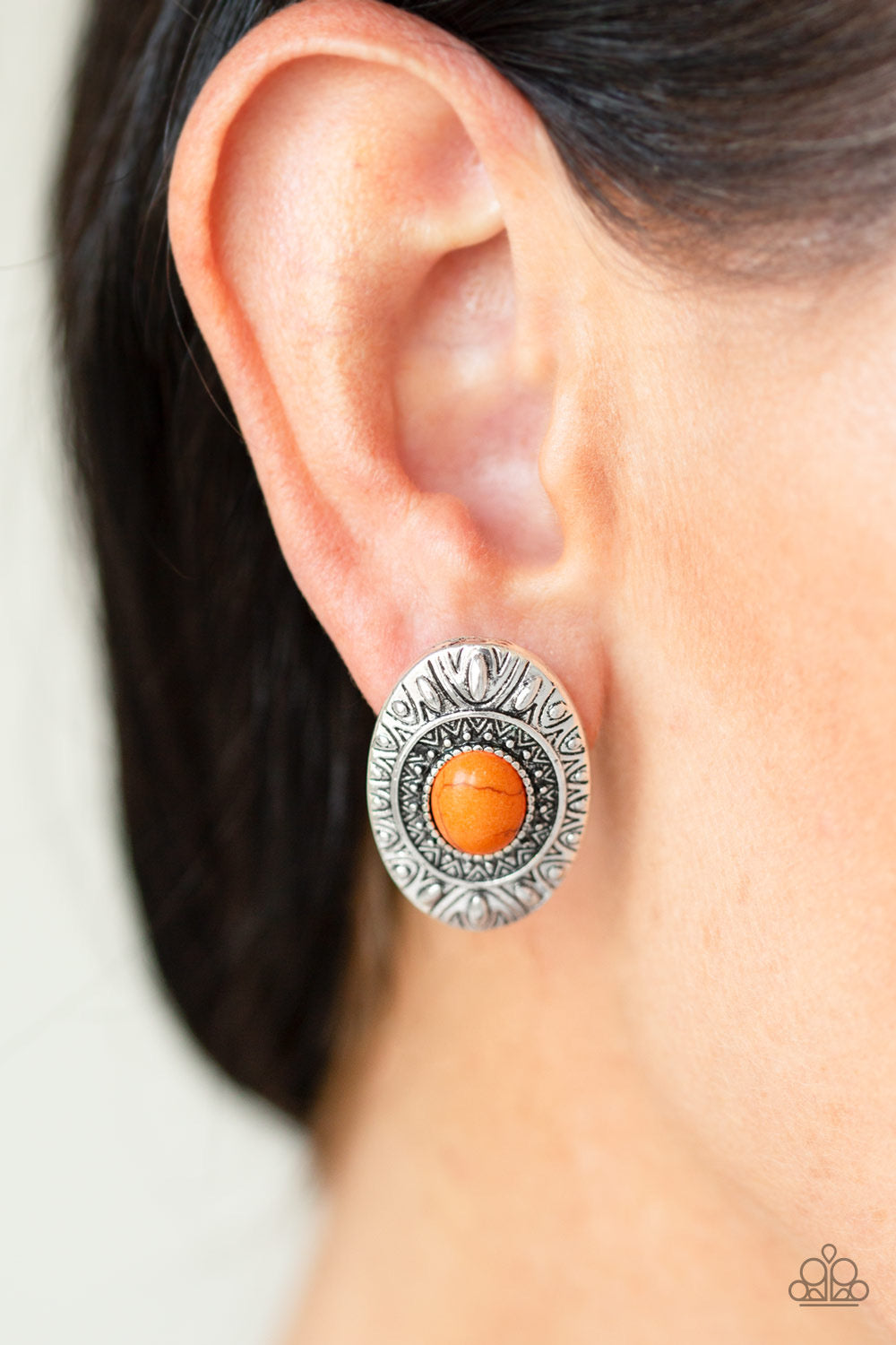 Paparazzi Stone Tiki - Orange Earrings