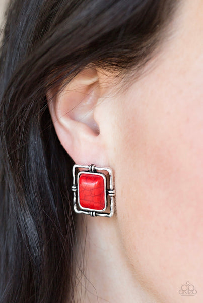 Paparazzi Center STAGECOACH - Red Earrings