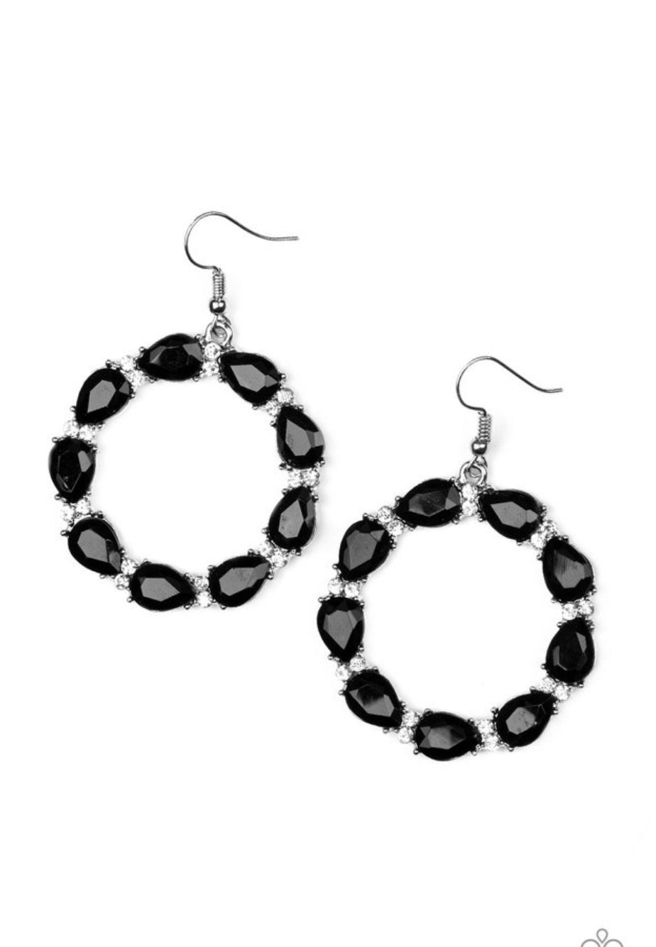 Paparazzi Ring Around The Rhinestones - Black Earrings