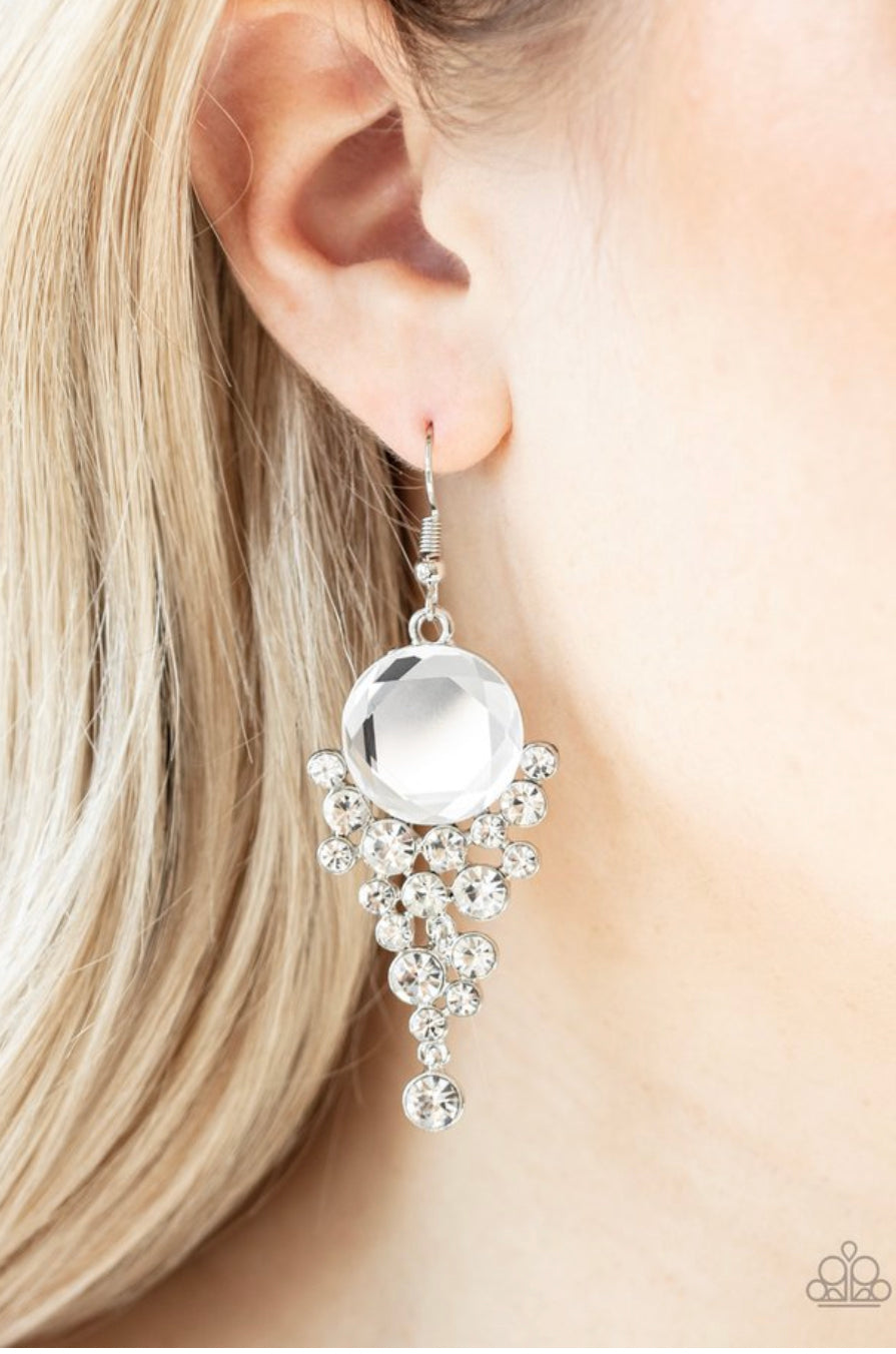Paparazzi Elegantly Effervescent - White Earrings