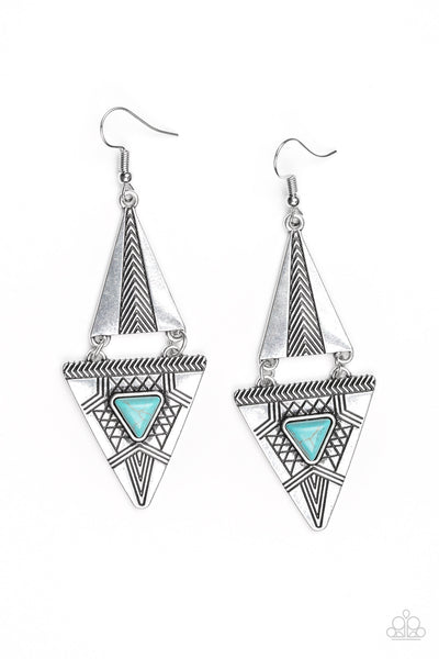Paparazzi El Paso Edge Turquoise Earrings