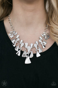 Paparazzi The Sands of Time - Silver Blockbuster Necklace
