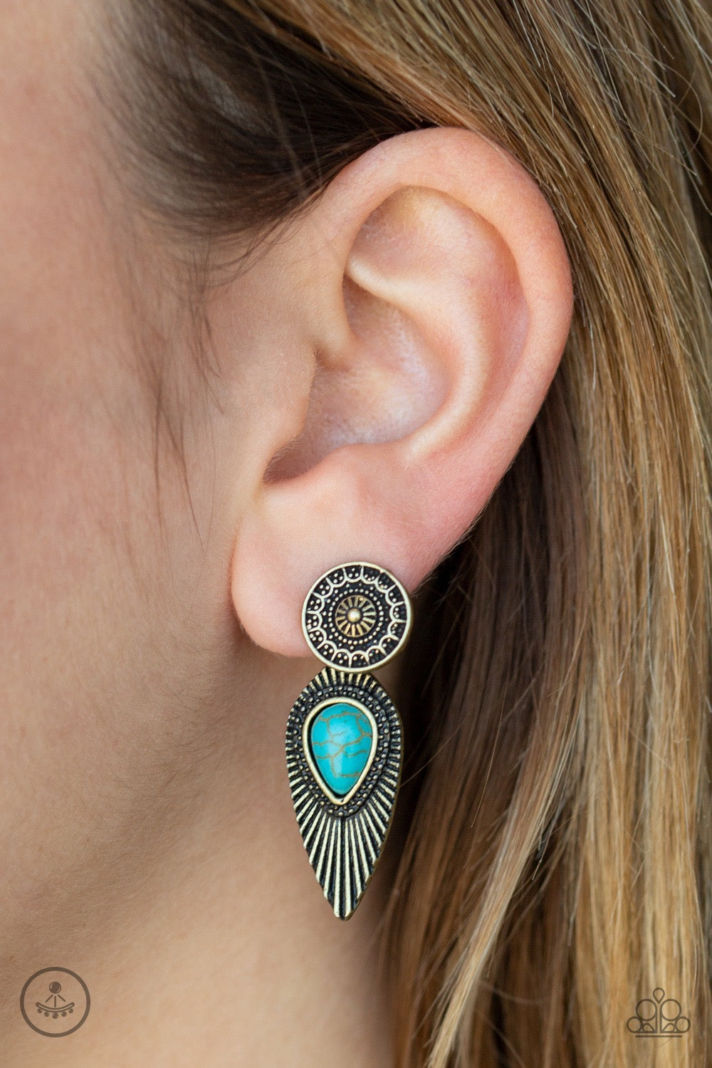Paparazzi Fly Into the Sun - Brass and Turquoise Earrings