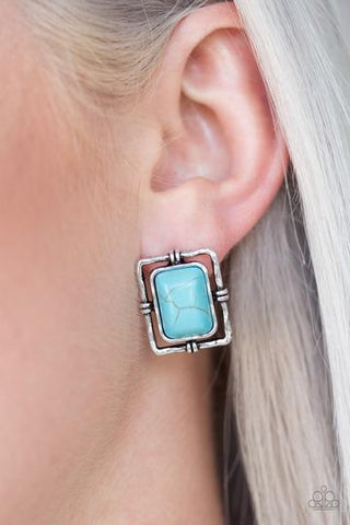 Paparazzi Center STAGECOACH Blue Post Earrings