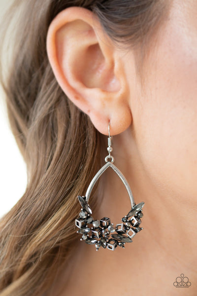 Paparazzi Crash Landing - Silver Earrings
