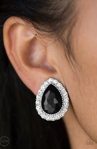 Paparazzi All HAUTE and Bothered - Black Clip-On Earrings
