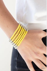 Paparazzi LAYER It On Thick - Yellow Bracelet