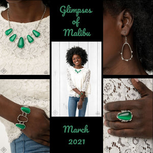 Paparazzi Glimpses of Malibu March 2021 Fashion Fix Green $20 Set