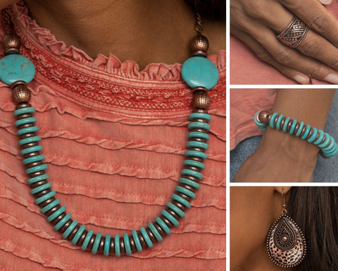 Paparazzi Simply Santa Fe November 2020 Copper and Turquoise $20 Set
