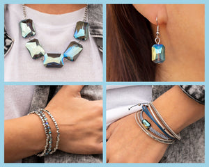 Paparazzi Blue/Multi $15 Set - Heard It On The HEIR-Waves Necklace and Matching Bracelets