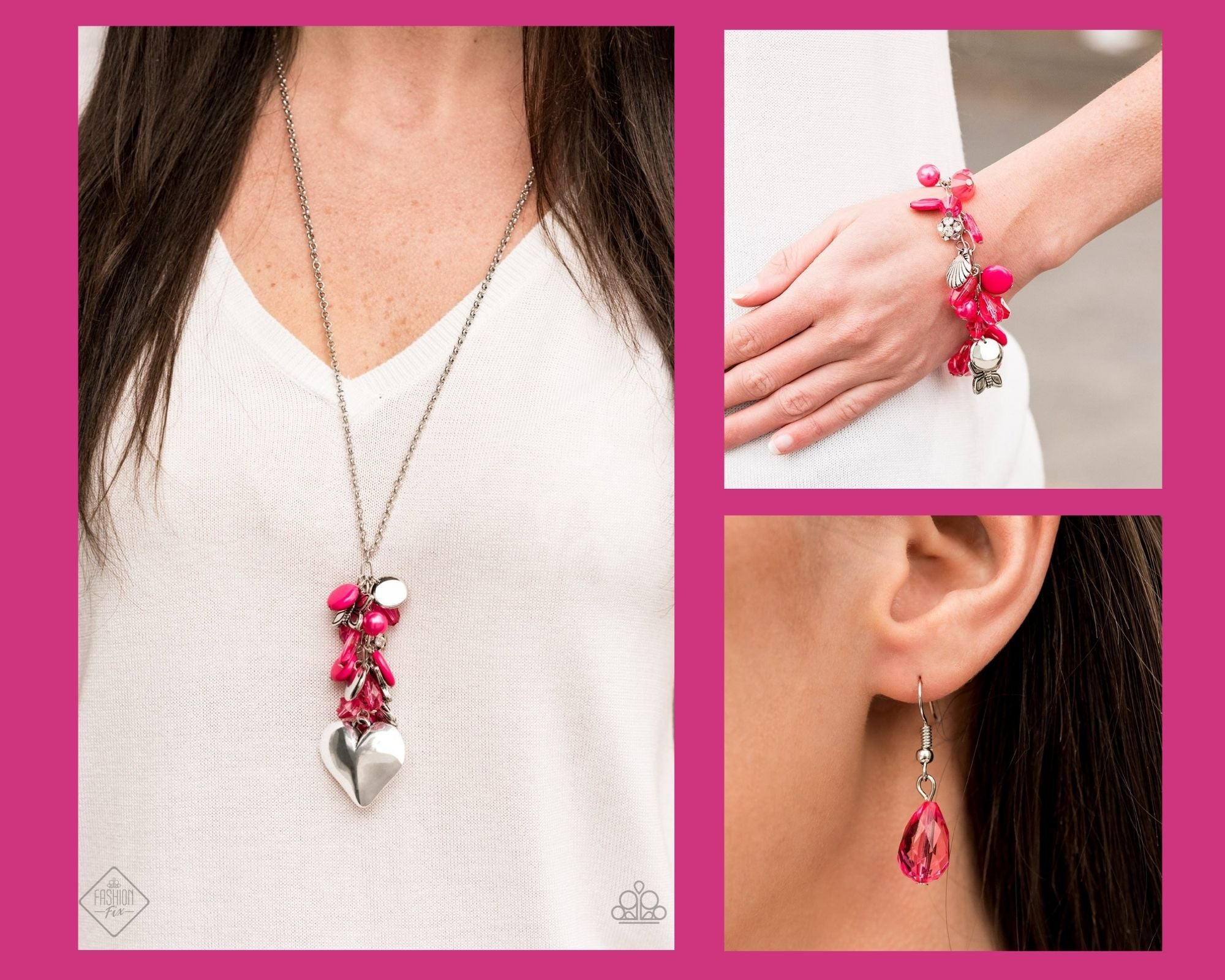 Paparazzi Pink $10 Set - Beach Buzz Necklace and Buzzing Beauty Queen Bracelet