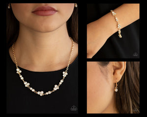 Paparazzi Gold $10 Set - Gorgeously Glistening Necklace and Social GLISTENING Bracelet