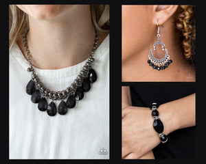 Paparazzi Black $15 Set - Fashionista Flair Necklace with Matching Bracelet and Earrings