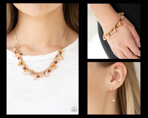 Paparazzi Gold $10 Set - Courageously Catwalk Necklace and Catwalk Crawl Bracelet