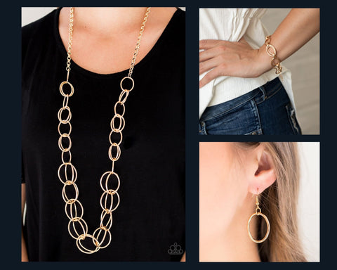 Paparazzi Gold $10 Set - Elegantly Ensnared Necklace and Simplistic Shimmer Bracelet