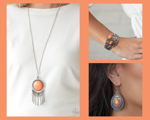 Paparazzi Orange $15 Set - Rural Rustler Necklace with Matching Bracelet and Earrings