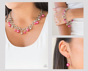 Paparazzi Fiercely Fancy Pink Necklace and Matching Bracelet $10 Set