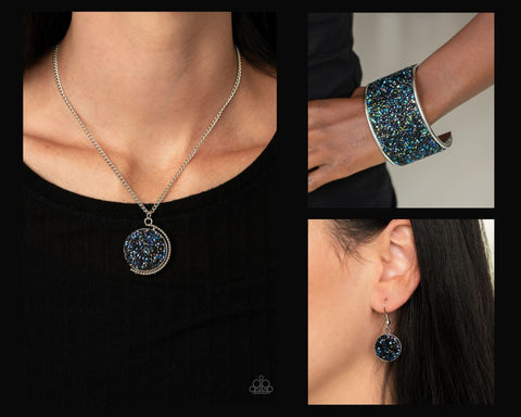 Paparazzi Blue and Black $10 Set - My Moon and Stars Necklace and Stellar Radiance Bracelet