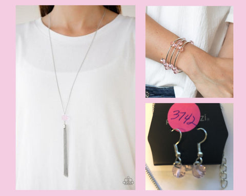 Paparazzi Pink $10 Set - Socialite of the Season Necklace and Dreamy Demure Bracelet
