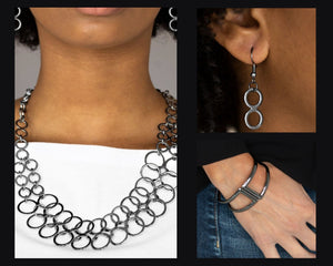 Paparazzi Black $10 Set - Metro Maven Necklace and Geo Glam Bracelet