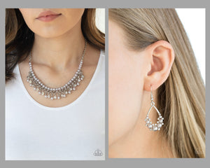 Paparazzi Silver $10 Set - A Touch of CLASSY Necklace and Fancy First Earrings