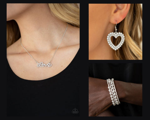 Paparazzi White $15 Set - Head Over Heels in Love Necklace with Matching Bracelet and Earrings