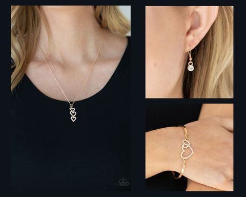 Paparazzi Gold $10 Set - With All Your Hearts Necklace and Cupid is Calling Bracelet
