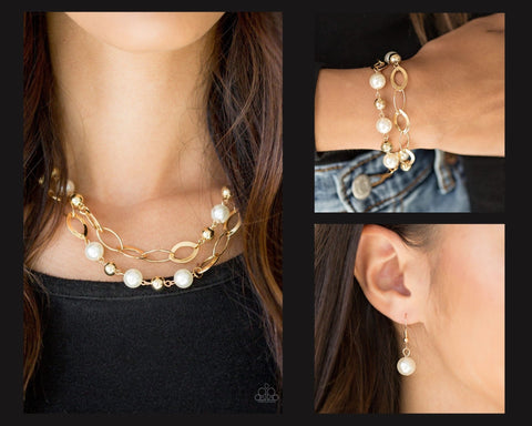 Paparazzi Gold $10 Set - Glimmer Takes All Necklace and Winner Glimmer Bracelet