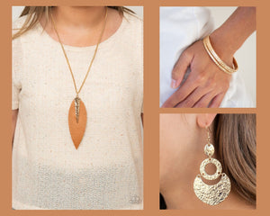 Paparazzi Gold $15 Set - Quill Quest Necklace, Shimmer Suite Earrings and Casually Couture Bracelet