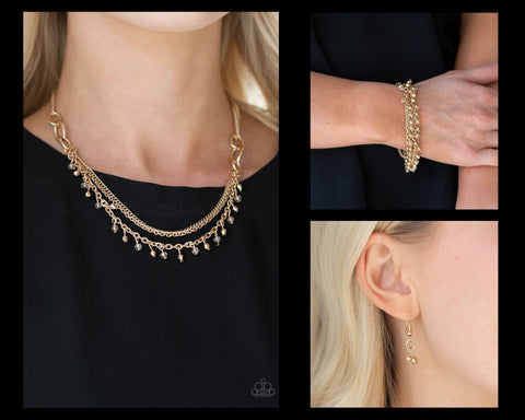 Paparazzi Gold $10 Set - Financially Fabulous Necklace and Cash Confidence Bracelet