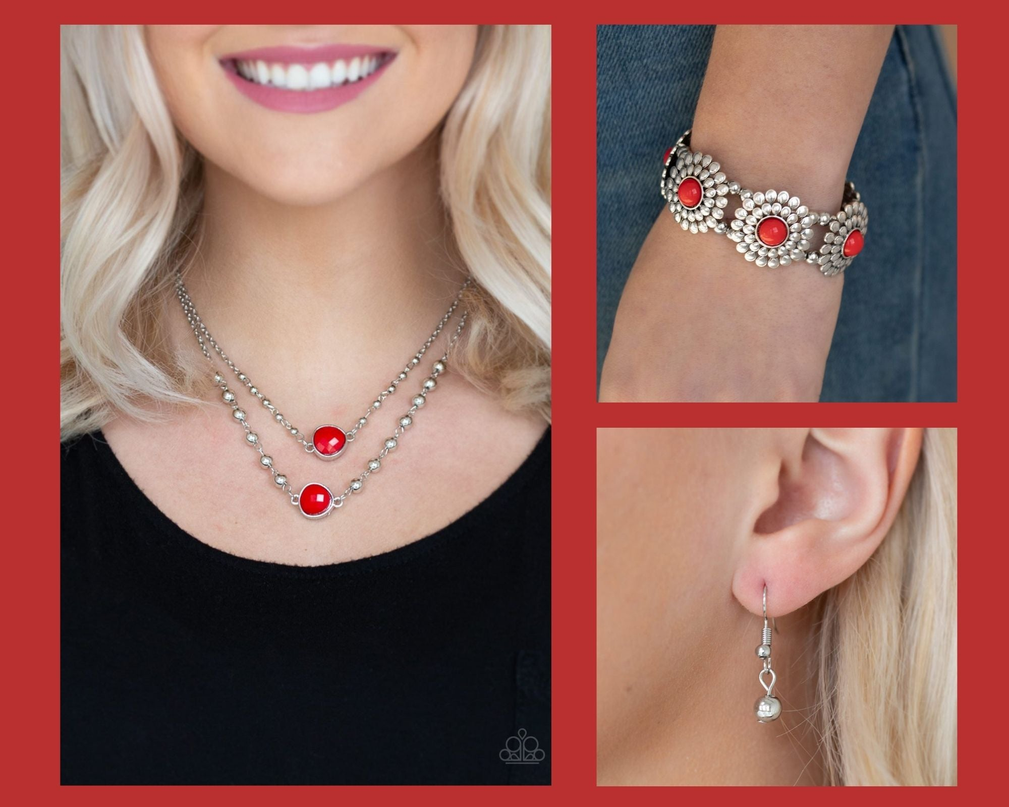 Paparazzi Red $10 Set - Paparazzi Colorfully Charming Necklace and Bountiful Blossoms Bracelet