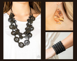 Paparazzi Black $15 Set - Catalina Coastin Necklace with Matching Bracelet and Earrings