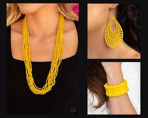 Paparazzi Yellow $15 Set - Conga Colada Necklace with Matching Bracelet and Earrings