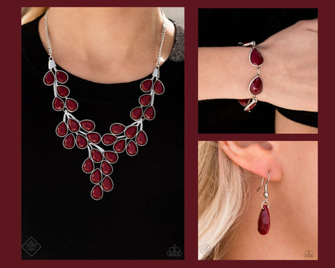 Paparazzi Red $10 Set - Eden Deity Necklace and REIGNy Days Bracelet