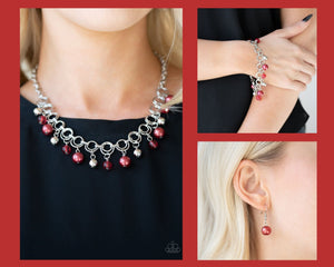 Paparazzi Red $10 Set - Fiercely Fancy Necklace and Fancy Fascination Bracelet