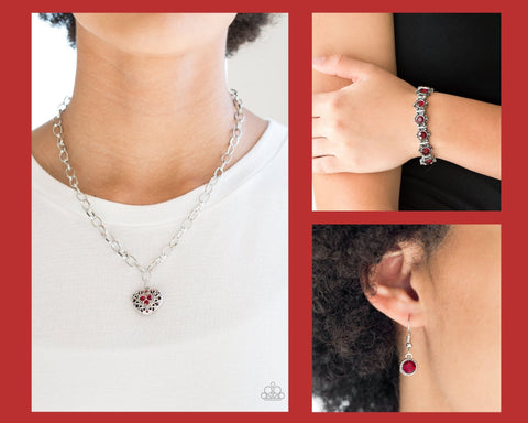Paparazzi Red $10 Set - No Love Lost Necklace and Strut Your Stuff Bracelet
