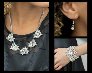 Paparazzi White $10 Set - HEIRESS of Them All Necklace and Rule the Room Bracelet